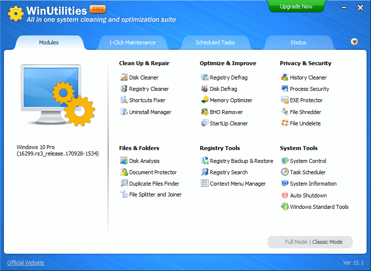 WinUtilities Free BUILD 180331 screenshot