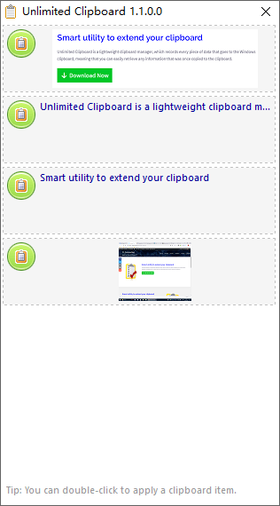 Click to view Unlimited Clipboard 1.1.2.0 screenshot