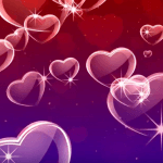 Red Purple Glowing Hearts Love Motion Background HD
