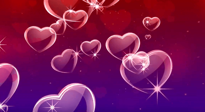 Red Purple Glowing Hearts Love Motion Background Hd Yl