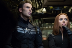 """""""Marvel's Captain America: The Winter Soldier""""..L to R: Captain America/Steve Rogers (Chris Evans) and Black Widow/Natasha Romanoff (Scarlett Johansson) © 2014 Marvel.  All Rights Reserved."""