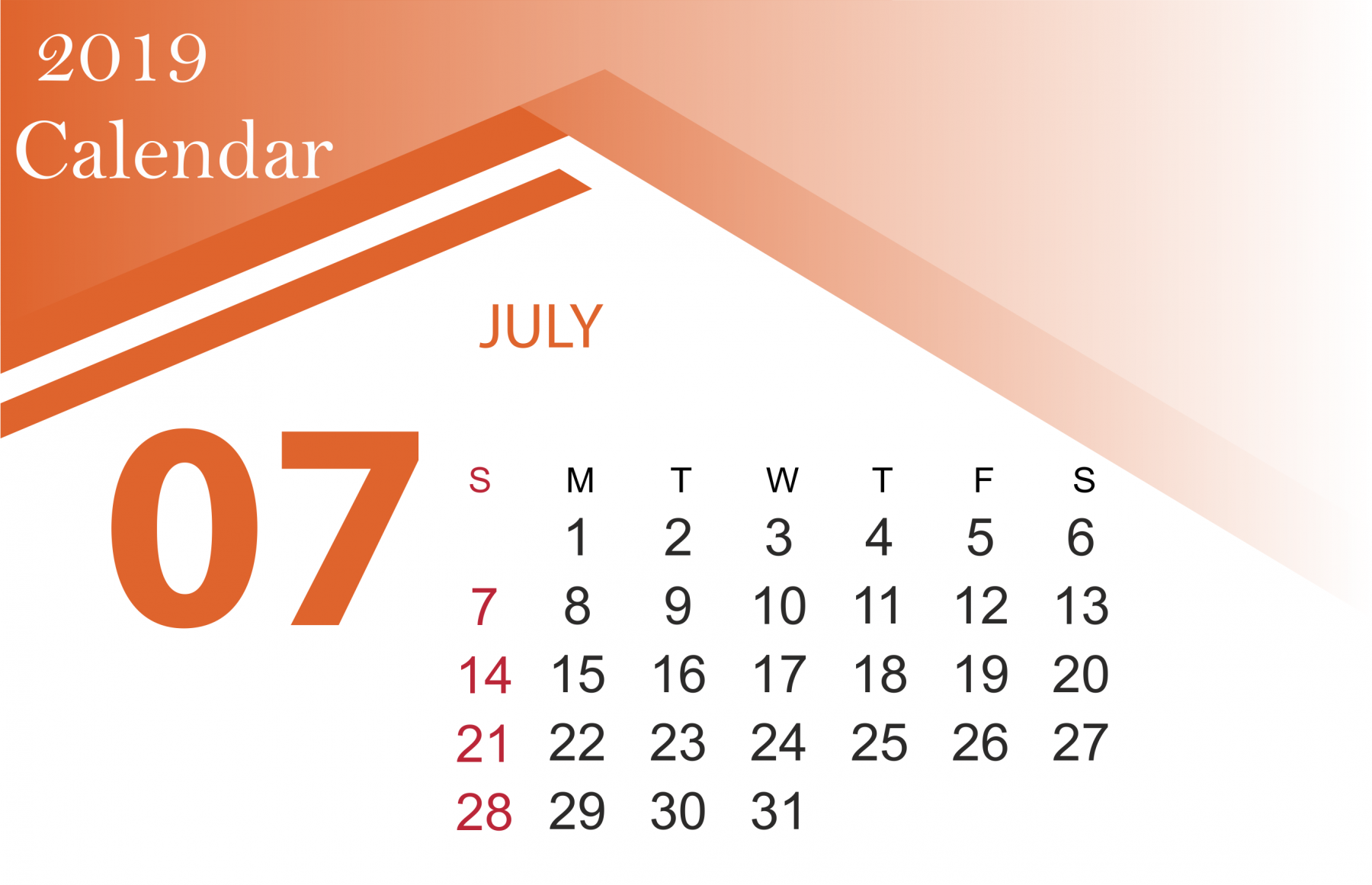July 2019 Calendar HD Wallpapers | Background Images | Photos