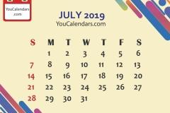 July 2019 Calendar Printable Template