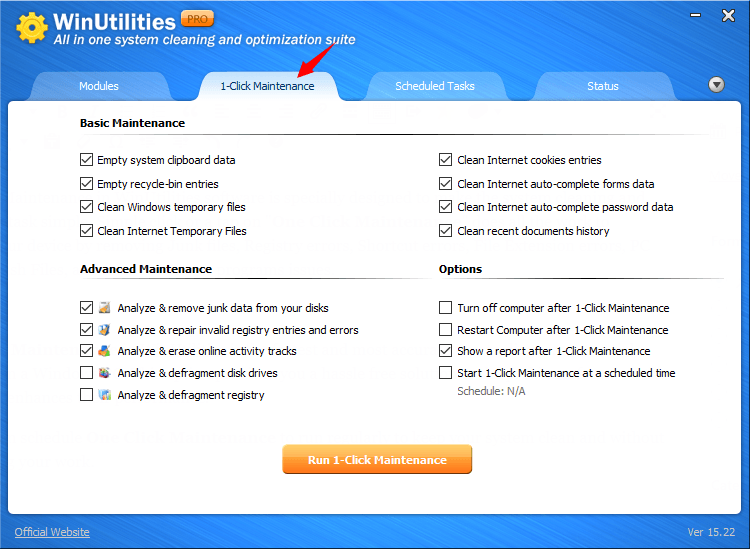 How To Use One Click Maintenance in WinUtilities? (For Windows 7, 8