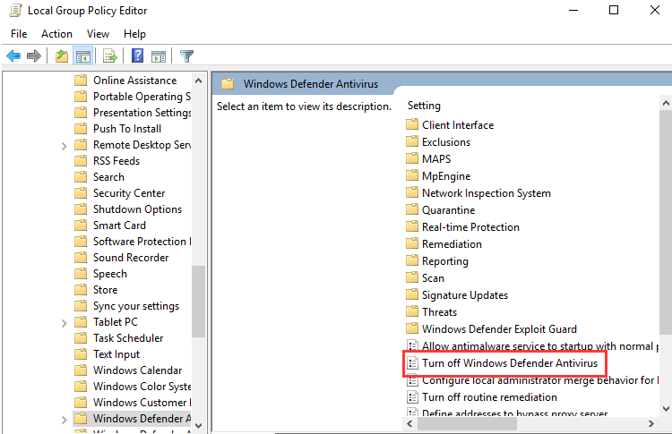 windows defender security center disable
