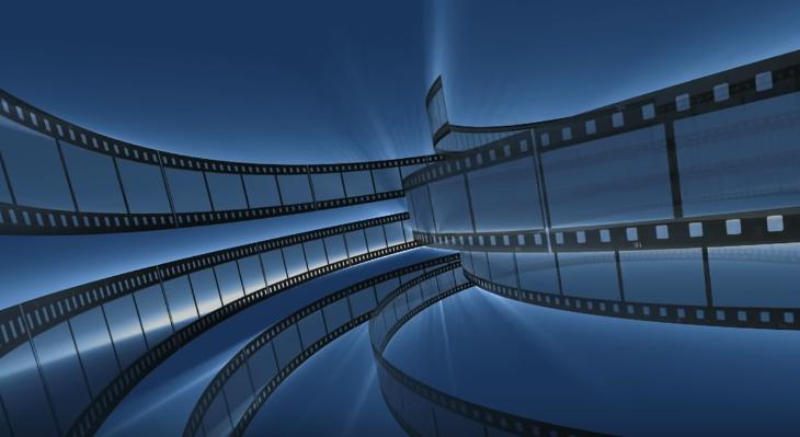 Dark blue background + vintage film HD live wallpaper seamless loop